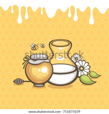 Milk and honey vector illustration. Honey jar with jug of milk on honeycombs background. Design for logo, food pack and natural cosmetic. Farm products.