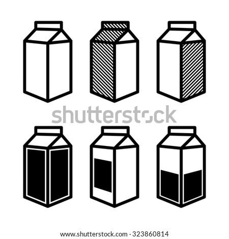 Milk and Juice Box Icons Set. Vector illustration