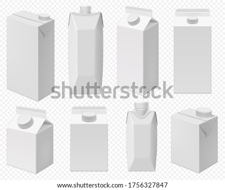 Milk and juice pack. Realistic carton package isolated, white box template for dairy product. Blank packaging for milk or juice on transparent background.