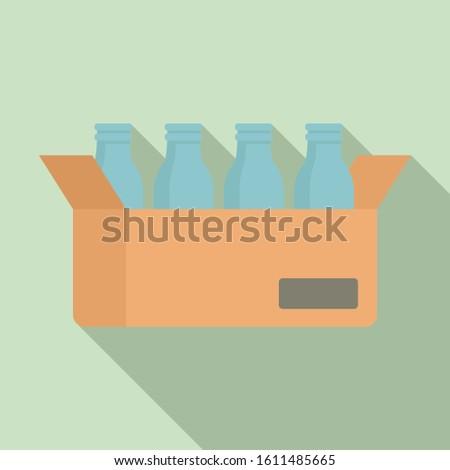 Milk bottle carton box icon. Flat illustration of milk bottle carton box vector icon for web design
