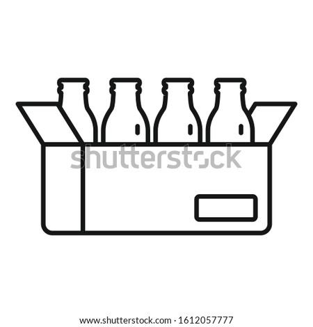 Milk bottle carton box icon. Outline milk bottle carton box vector icon for web design isolated on white background