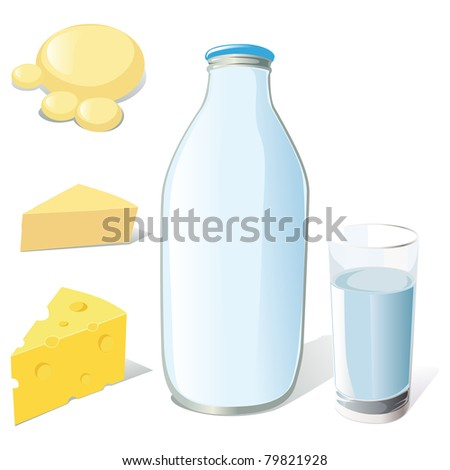 milk bottle, glass and cheeses