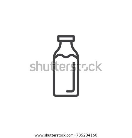 Milk bottle line icon, outline vector sign, linear style pictogram isolated on white. Symbol, logo illustration. Editable stroke