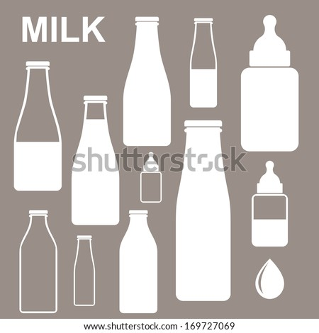 milk bottles icon set