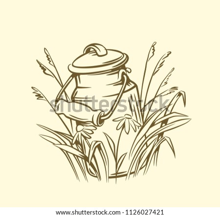 Milk cans with grass country style vector sketch