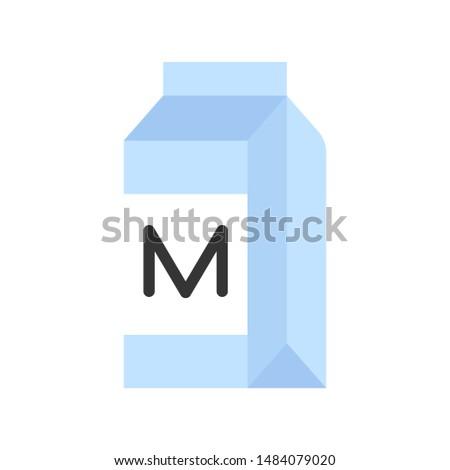 Milk carton or beverage carton vector, flat icon