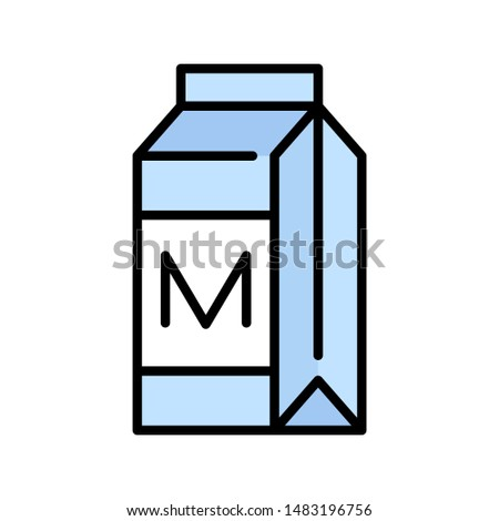 Milk carton or beverage carton vector icon, filled style