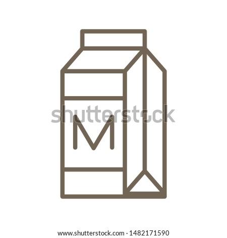 Milk carton or beverage carton vector, line icon