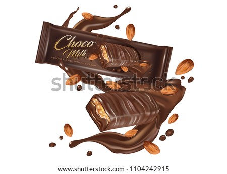 Milk chocolate flavor with almond seeds, tasty liquid twisted and package in the middle isolated on white background for your brand, Vector realistic in 3d illustration. Food concept.