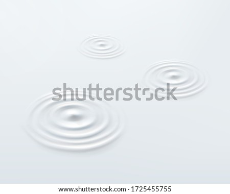 Milk circle ripple, splash water waves from drop top view on white background. Vector cosmetic cream, shampoo, milk product or yogurt swirl round texture surface template.
