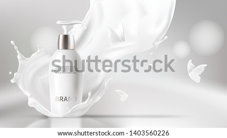 Milk cosmetics realistic vector blurred background. Skin care cosmetic product, body lotion in white bottle with silver dispenser in milk splash, crown with flying butterflies Mock-up promo poster