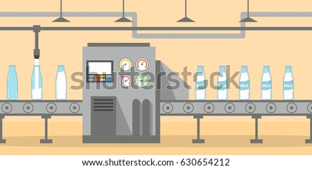 Milk factory conveyor pours and packs bottles glass milk.The conveyor the automatic product line with dairy plant.Production Process on Line Conveyor.Flat Infographic milk production vector Food  farm