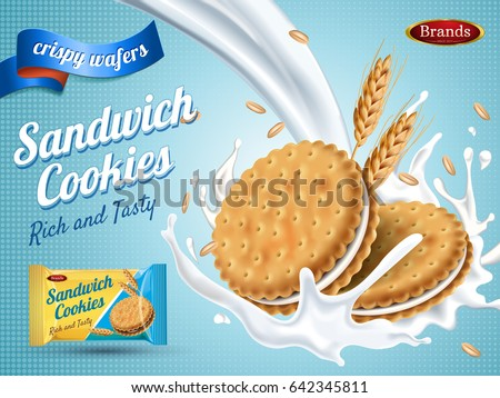 Shutterstock milk flavor sandwich cookies, isolated light blue background, 3d illustration