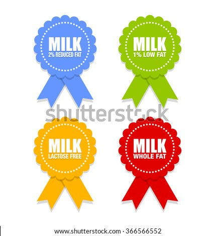 Milk icons or rosettes with ribbons that depict different types of milk on white background ストックフォト ©