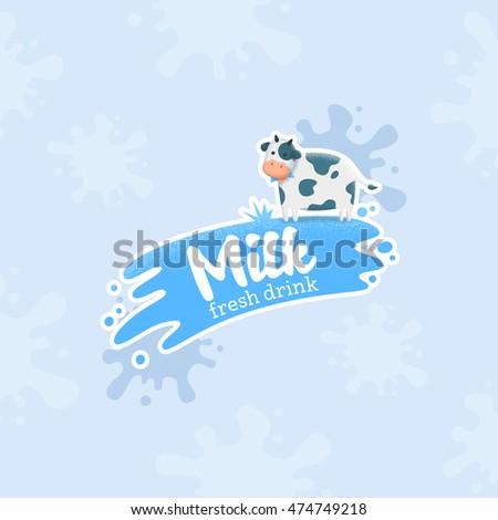 Milk label, logo, emblem. Vector
