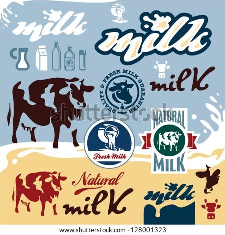 Milk Cow Vector Milk Labels Set Cow Vector