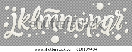 Milk latin alphabet, abc. Vector font type with splash and flow drop of white liquid. White letters. For dairy packaging design. Symbols isolated on transparent background.