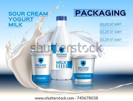 Milk mock up realistic Vector. Sour cream and yogurt products. 3d packaging label design. Milk splash background