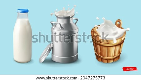 Milk. Natural dairy product. Bottle, can, wooden bucket with milk splash wave. Concept for package of milk. ストックフォト ©