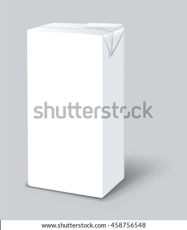 Milk or juice carton packages isolated on a background. Clean empty carton one liter for new design.  Mockup white pack vector illustration. Realistic template.