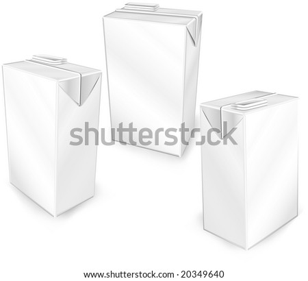 Milk or juice carton packages isolated on a white background, vector illustration