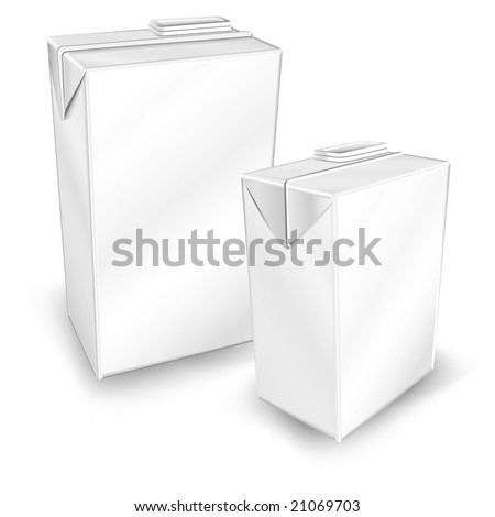 Milk or juice carton packages isolated on white background, vector illustration - stock vector