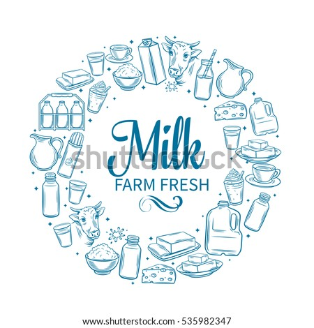 Milk product banner. Hand drawn milk vector icons set.