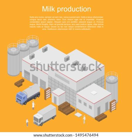 Milk production concept banner. Isometric illustration of milk production vector concept banner for web design