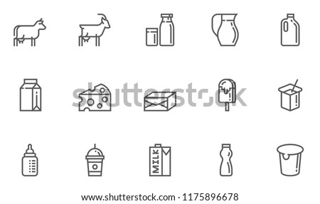Milk Products , Dairy Produce Vector Line Icons Set. Milk Production, Cow's Milk, Goat's Milk, Cheese, Yogurt, Ice Cream. Editable Stroke. 48x48 Pixel Perfect.