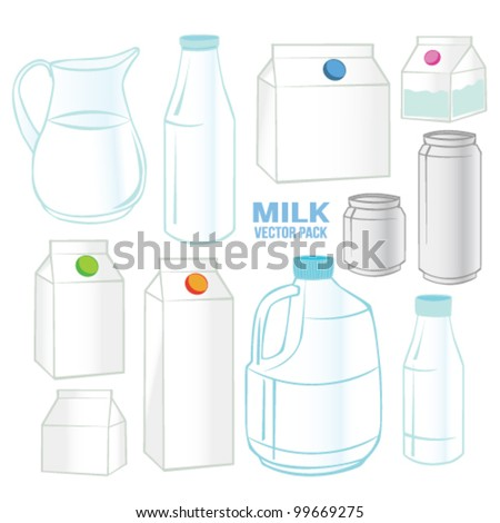 Milk set Vector Pack Gradient color