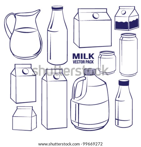 Milk set Vector Pack Line Art - stock vector