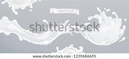 Milk splash 3d realistic vector. Package design