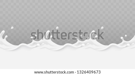 Milk splash seamless pattern isolated on transparent background. 3d realistic yogurt wave border. Vector milk package design.