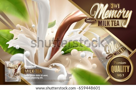 Milk tea instant drink with pouring mixed drink, with flying leaves elements, 3d illustration