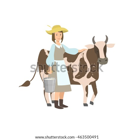 milkmaid with cow and metal