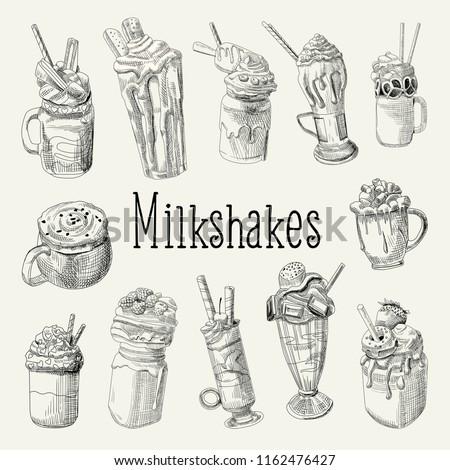 Milkshake and Ice Cream Hand Drawn Doodle. Dessert Drinks Isolated on white Background. Vector illustration