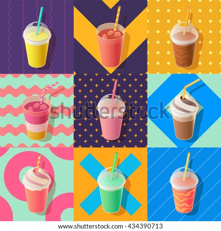 Shutterstock milkshake or smoothie take away cups, isometric vector illustration
