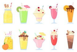 Milkshake, smoothie, cocktail set. Milk and fruit cocktails with topping, waffles, chocolate, peach, ice cream, strawberry, cherry, etc. Summer drinks. Isolated vector illustration