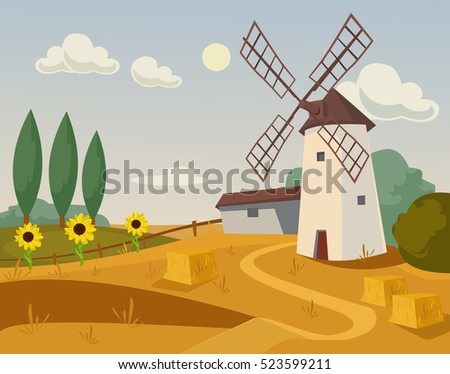 mill farm vector flat cartoon