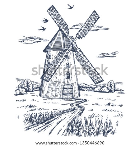 Mill. Hand drawn vintage windmill. Engraved style vector illustration. isolated on white background. Rural field with ripe wheat on the background of the windmill, swallows and clouds