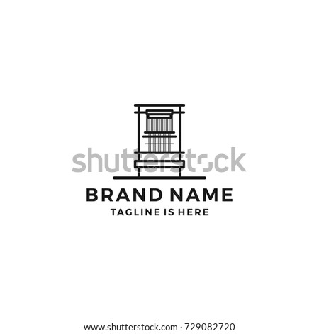 mill loom weaving tufting machine textile fabric logo template vector icon illustration