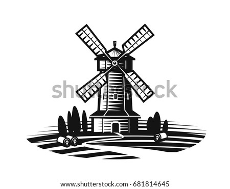 Stock Photo Mill, windmill label or logo. Farm, agriculture, bakery, bread icon. Vintage vector illustration