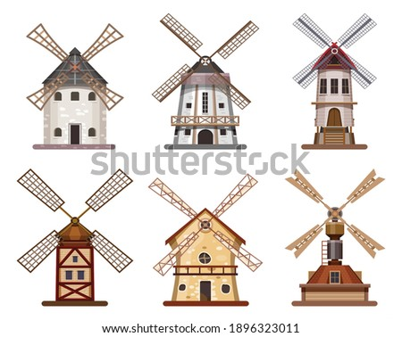 mill windmill wooden wheat flour building isolated icons