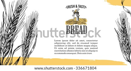 Mill with wheat field and ears. Vintage vector engraving illustration for logotype, label, poster, corporate identity, presentations, flayer for bakery and bread shop