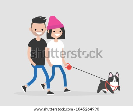 Millennial couple walking a dog. Daily life of pet owners. Flat editable vector illustration, clip art