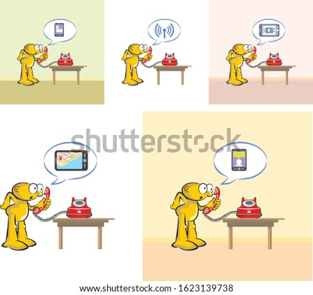 Millennial facing an old red telephone without understanding it. Old phone versus new smartphone. Change and evolution in  communications technology. Vector illustration in cartoon style in EPS 10.