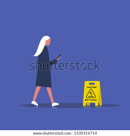 Millennial female character addicted to a smartphone. Nomophobia. Caution, wet floor. Wet surface. Flat editable vector illustration, clip art