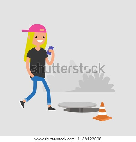 Millennial female character addicted to smartphone. Nomophobia. Open canalization hatch. Flat editable vector illustration, clip art
