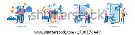 Millennials, Generation Z, Baby boomers, Generation X . Vector illustration for web banner, infographics, mobile.