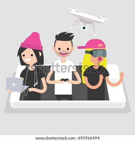 Millennials using different devices: laptop with headphones, drone and VR glasses. New technologies conceptual illustration. Flat editable vector, clip art Zdjęcia stock ©
